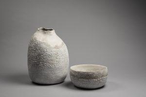 LOIREAU Flore - Vase ventru et plat